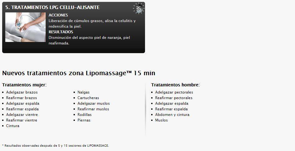 LPG Endermologie Lipomassage - Tabla de tratamientos